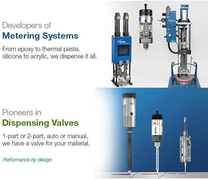 2K Metering Systems for all adhesives and resins, also showing Meter Dispense Valves
