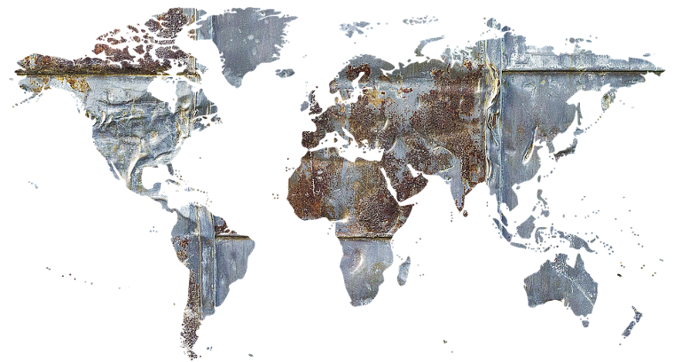 Metalic cladding Map of the world.